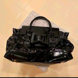 AUTH GUCCI DIALUX QUEEN BLACK BOW LRG SATCHEL BAG
